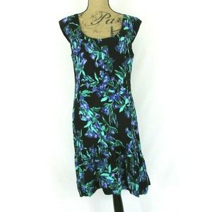Ann Taylor Silky Black Purple & Green Floral Dress